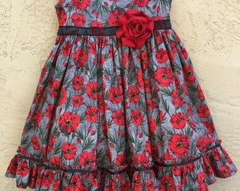 """Red """"Camila""""poppies dress"""