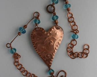 Copper heart pendant necklace, lampwork beads, blue / copper necklace