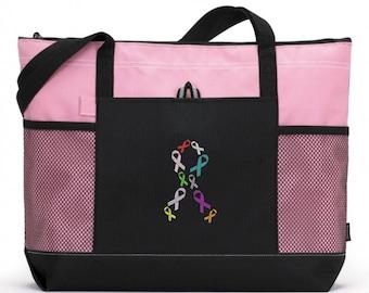 Cancer  Ribbon Tote Bag/ Cancer Ribbon Tote Bag/ Breast Cancer Tote Bag/ Embroidered Cancer Tote Bag/ Many Ribbon Colors Cancer Tote Bag