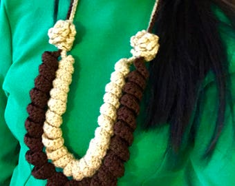 Brown and Yellow Handmade Crochet Necklace