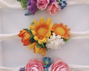Baby tie back Flower Crown Great For Photos and More