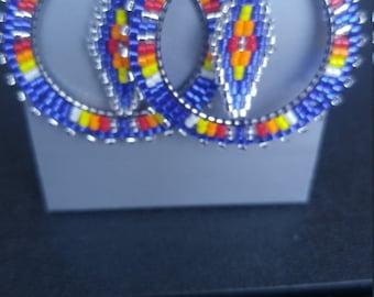 Native American Handmade Brick Stitch Hoop Earrings