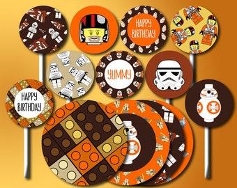Star Wars Cake Topper, Printable Star Wars Cupcake Topper, Star Wars Centerpiece, Star Wars Cake Decorations, Star Wars Center Pieces
