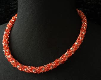 Glass - coral beads necklace