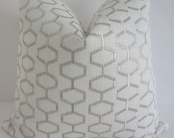 Delightful Mist Fabrics - P/Kaumann Fabrics - Silver Pillows - Pillow Covers- Silver White Pillows- Embroidered Silver Pillows