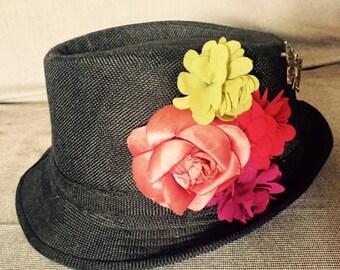Black flowered Trilby Hat