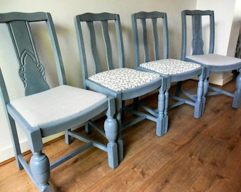 Set Of Four Dining Chairs Painted Grey (Chalk Paint)