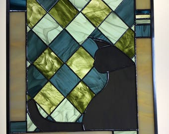 """stained glass panel """"Kitty in a Window"""""""