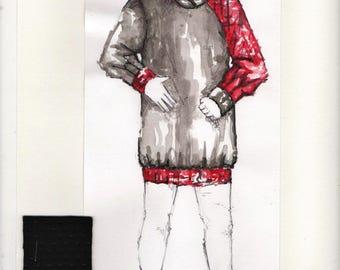 Red & Black Asymmetrical Long Length Hoodie