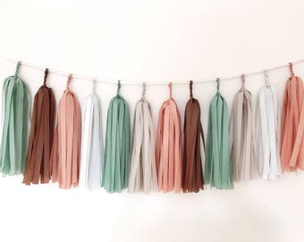 Green Brown Tassel Garland Neutral Tissue Paper Tassel Wedding Tassel Garland Rustic Garland Wild One Birthday Balloon Tassel Autumn Garland