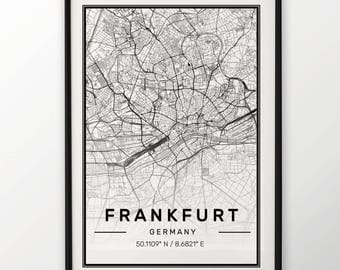 Frankfurt City Map Print, Modern Contemporary poster in sizes 50x70 fit for Ikea frame All city available London, New york Paris Madrid Rome