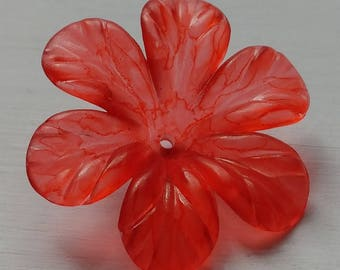 Hand Painted Lucite Flower Beads, Large Tropical Flowers, Coral, 2