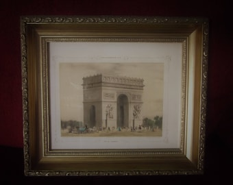 Antique French Parisian Daguerreotype Litho Print -Framed -  L'Arc de Triomphe