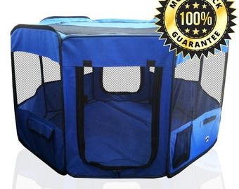 "Premium Pet Playpen 45"" Kennel. Best Exercise Cage for Your Dog, Cat, Rabbit, Puppy, Hamster or Guinea Pig. Portable Pen for Easy Travel"