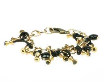 Onyx chain bracelet. Bronze with black silk cord bracelet.