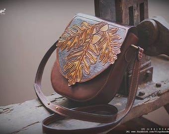 Autumn leave tooled/carved cross body bag for women