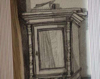 Drawing of an Old Wardrobe,Wardrobe, Home Wall Decor,Graphite Drawing, Figurative Art, Hand Made Drawing, Original Art Piece, Draw in Black.