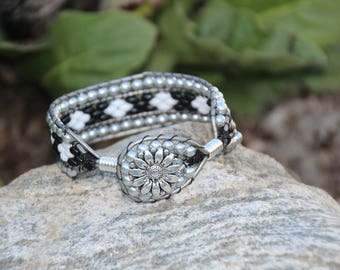 Black N White Leather Cuff Bracelet, Silver Leather, Cuff Bracelet