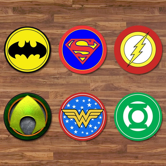 The Justice League Cupcake Toppers - Justice League Stickers - Logos - Justice League 2 inch Round Stickers - Justice League Party