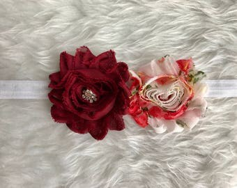Dark Red Shabby Flowers