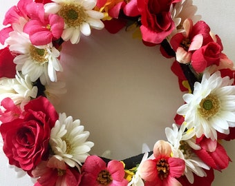 Red and White Flower Crown