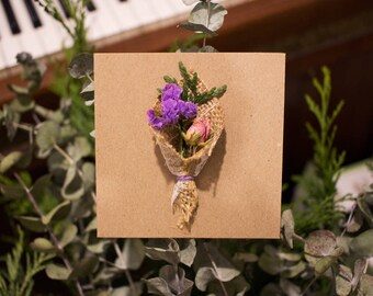 Pastel: Dried Flower Card | Flower Card | Real Flower | Mother's Day Card | Wedding Card | Birthday Card | Anniversary Card
