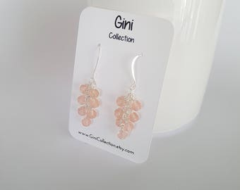 Light pink, glass beads, wire wrapped, silver plated earrings.