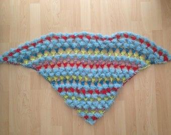 Alpaca crochet scarf 'colorful fleece'