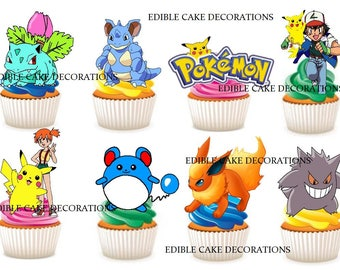 30 x POKEMON edible rice fairy paper cupcake cake toppers edible decoration Stand up Pokemon Kids Party Characters