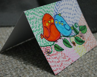 Birds, love, Handmade, Card, Flower, Gift card, folded card, party, birthday, wedding, get well soon