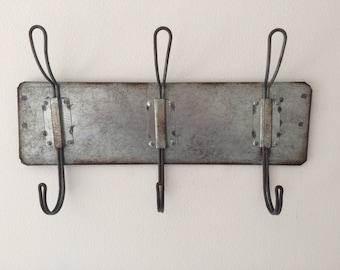 Reclaimed industrial metal coat rack hooks 3 lightweight