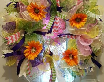 Beautiful spring deco mesh multi colors with flowers