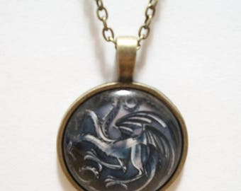 Three Headed Dragon Glass Cabochon Pendant Necklace SC541