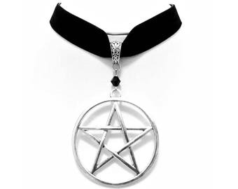 necklace choker velvet big silver pentagram pentacle witch gothic wicca pagan occult