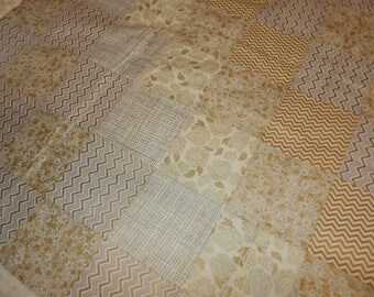 Baby Blanket Crib Size Patch Quilt *Ivory*Gold*Birds*3 Types of Gold Chevron*Roses*Flowers With Ivory Minky Dot