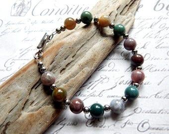 Fancy Jasper Gemstone Bracelet - Beaded Gemstone Bracelet - 8  3/4 Inches