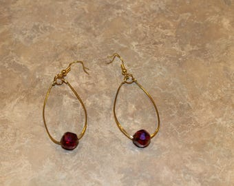 Gold Dangle Earrings with Red Beads