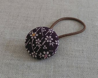 Elastic hairband with vintage kimono fabric button