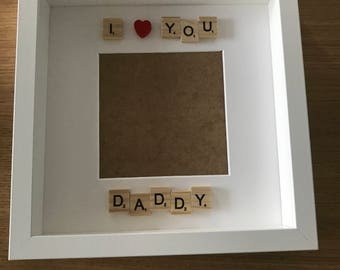 I love you daddy scrabble Frame, first Father's Day, gift for Dad, box frame for Dad, memory frame