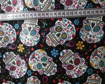 Fokeloric skulls woven cotton, sugar skull cotton fabric, skull fabric, cotton fabric, quilting cotton, skull cotton