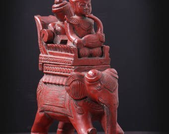 Musicians on Elephant - Wood and Red Lacquer