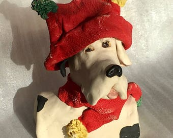 Here's Ramon a stoneware ceramic handmade cute whimsical dog by Jacquie Cross