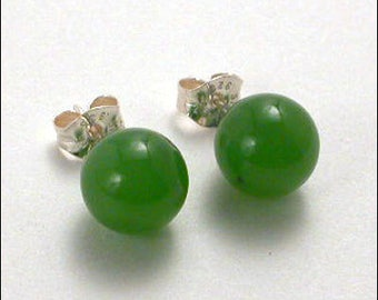 Jade 8mm Round Studs Earrings - Sterling Silver