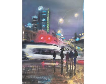 City Rain Print, Fine Art, Gift, Cityscape, Holiday, Texas, Travel