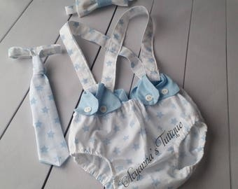 Baby boy cake smash cakesmash photoshoot diaper cover baby blue white  suspenders bowtie and tie