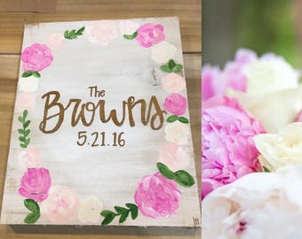 Personalized Name and Date Sign / Wedding Boquet / Full Wreath / on Wood