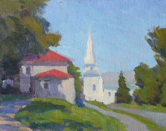 Original 6x8 Oil Painting The Village Church New England Church Steeple New England Architecture White Painted Buildings Original Art NE NH