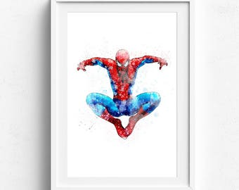 Spiderman print, spiderman poster, spiderman art, spiderman watercolor, marvel print, superhero prints, digital art print, prints for boys