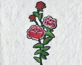 DIY iron on dress large rose flower embroidery patches/embroidery applique in stocks
