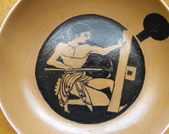 Deep ceramic plate, handpainted, Ancient Greek Scene, 23 cm diameter